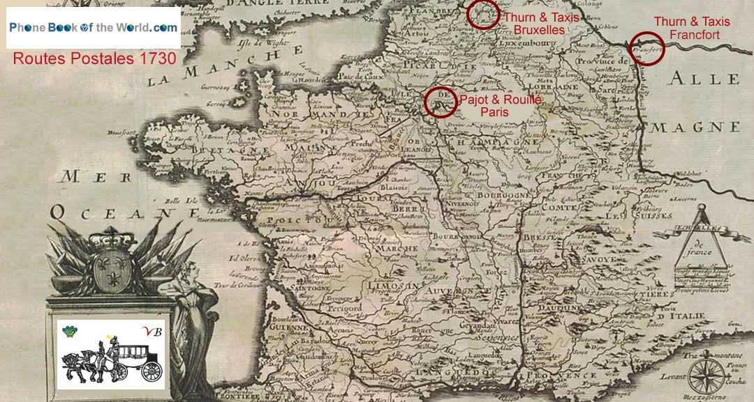 routes postales France vers 1730